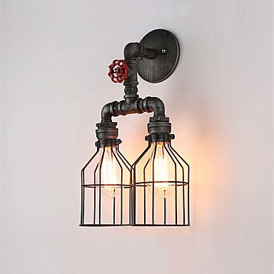 Iron Cage Retro Vintage Wall Light With 2 Lights For Home Restaurant Cafe Water Pipe Wall Lamp Loft Industrial Sconces LED black color pipe retro loft vintage iron shade wall lamp sconces industrial home lighting fixture for living room free shipping