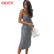 2e94910d87a OOTN Black White Gingham Sleeveless Sarafans Women V Neck Dress Female  Party Dress