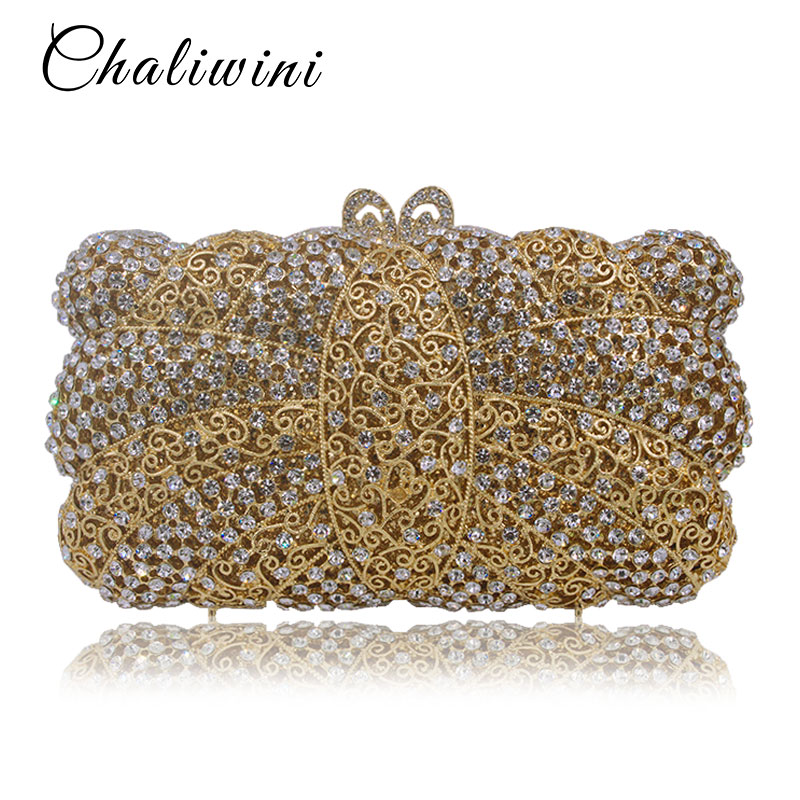 Luxury Hollow Out Metallic Crystal Clutch Evening Bag Party Purse Women Wedding Bridal Handbag Pouch Soiree Pochette Bag luxury crystal clutch evening bag silver and champagne party purse women wedding bridal handbag pouch soiree pochette bag