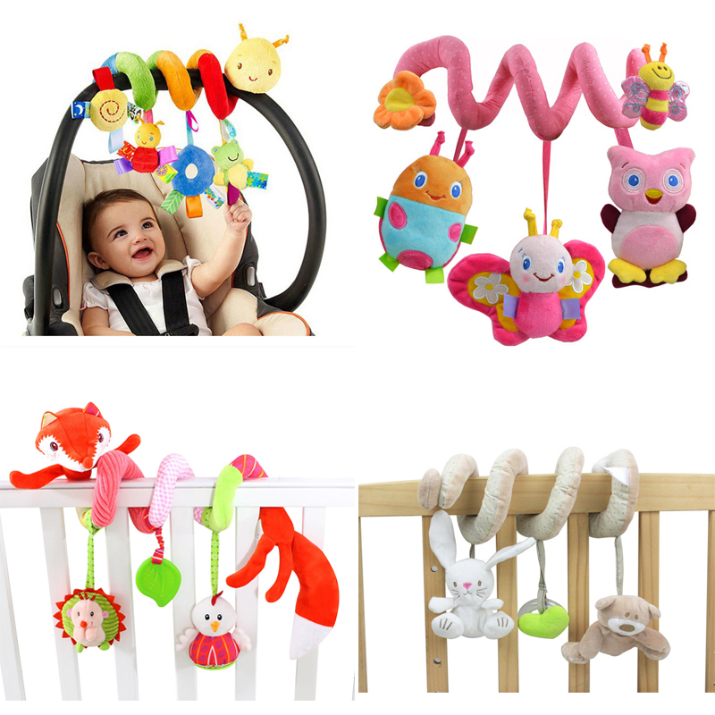 Soft Spädbarn Spjälsäng Barnvagn Spegel Spiral Babyleksaker För - Leksaker för spädbarn