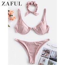 7a644751494 ZAFUL High Cut Shiny Bikini Set Solid Bikinis Swimwear Women Swimsuit  Bathing Suit Female Push Up Beachwear Maillot De Bain