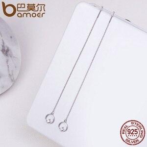 Женские Геометрические серьги BAMOER, длинные серьги-капельки из стерлингового серебра с цирконием AAA, с кисточками, 925 пробы