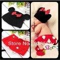Envío libre, Minnie Mouse sombrero con Lazo Rojo Cubierta Del Pañal y Zapatos a Juego Ropa de Bebé Hecha A Mano Set fotografía accesorios Personalizados