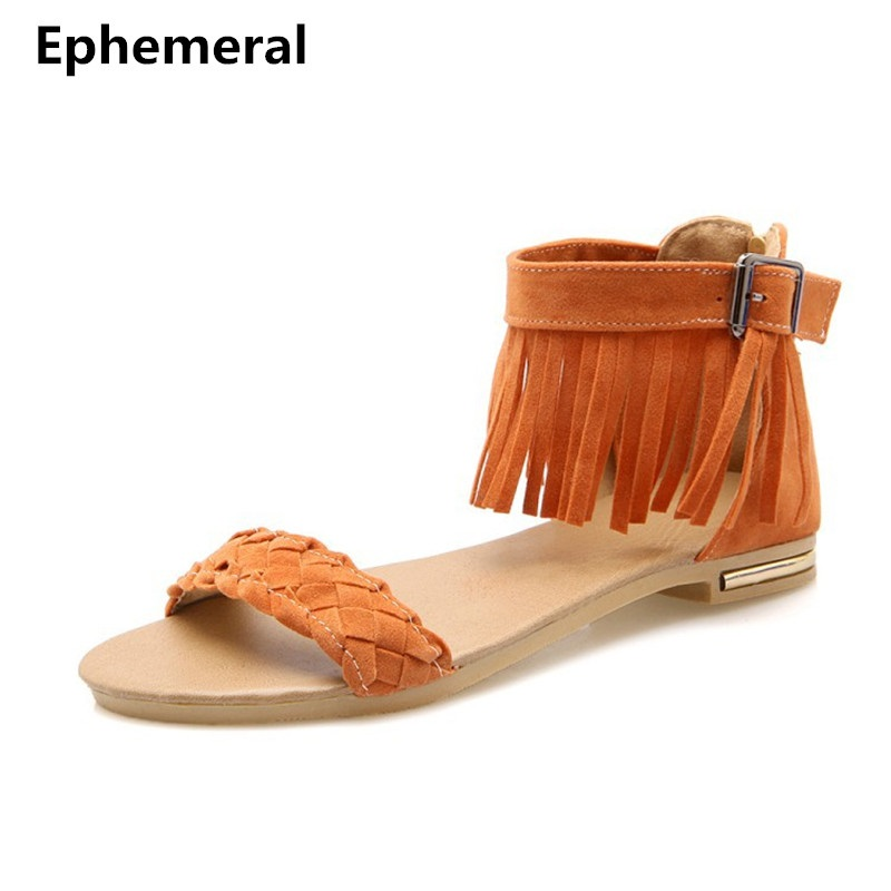 Women sandalias mujer 2017 tassel shoes open toe buckle strap sandals with zipper in summer black orange beige plus size 11 12 size 4 11 big size sandals women shoes black beading 2016 summer women flats shoes sandalias mujer check foot length
