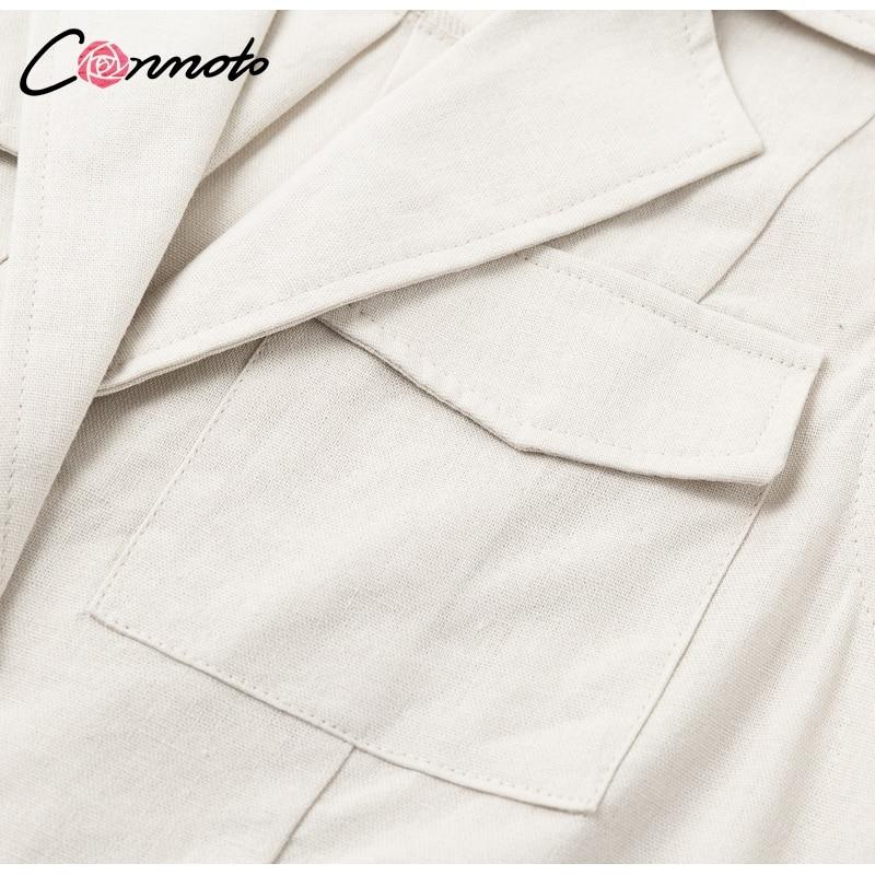 Conmoto Elegant Short Blazer Women Dress Sexy Bow Belt Tie Solid Mini Dress Linen Button Beach Wrap Party Dresses Shirt Vestidos 10