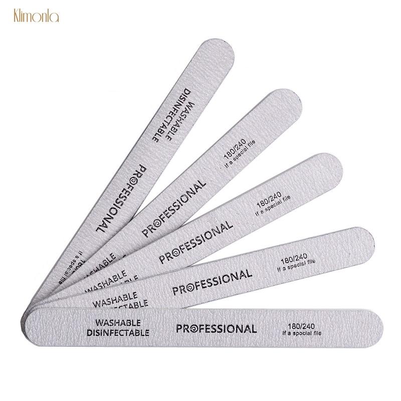 10PCS Gray Wooden Nail Art Sanding Buffer Nail Files 180/240 Girt Sandpaper UV Gel Polisher Manicure Pedicure Nail Tools Salon