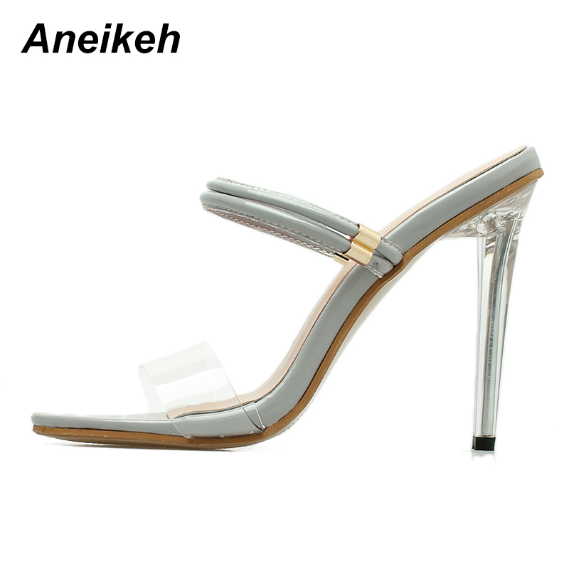 893306bc6f2 Aliexpress.com : Buy Aneikeh 2018 Women Summer Sandals PVC Clear  Transparent Mule Slide Ankle Strap Sandals High Heel Stilettos Shoes from  Reliable ...