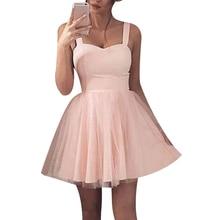 Summer Women Sexy Strap V Neck Crochet Mesh Waist Skater Dress Casual Party  Swing Mini Dresses a319762feaf2