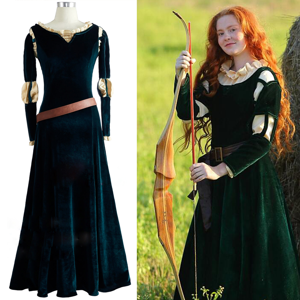 Brave Movie Cosplay Princess Merida Cosplay Costume Outfit Halloween Party Princess Cosplay Clothes For Girl  Drama Dresses
