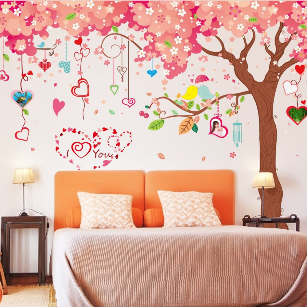 Aliexpress.com : Buy Big Size Cartoon Pink Warm Romantic Cherry Blossom Tree  DIY Wall Stickers Living Room TV/Sofa Backdrop Home Decor Mural Decal From  ... Part 73