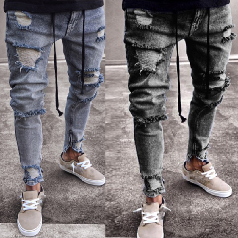Men Denim Gray Jeans Slim Ripped Hole Jeans Fashion Hip Hop Skinny Pencil Jeans For Men High Street Patchwork Stretch Jeans Men