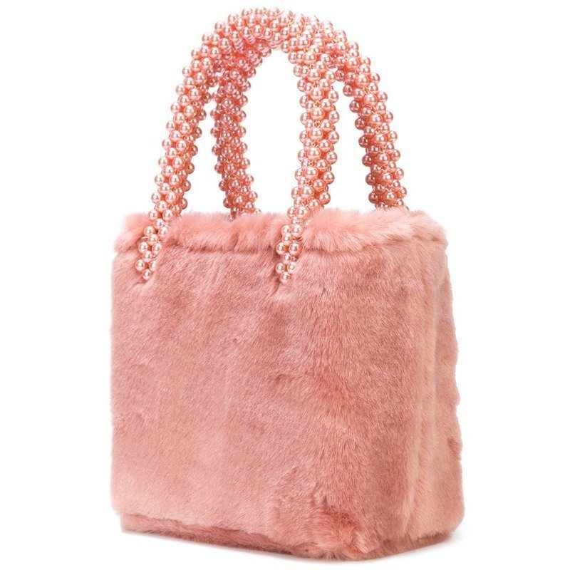 Fur Bag Beaded Top Handles Tote Warm Winter Ladies Portable Hand Pearl Bag Luxury Women Pearl Small Bags For Designer Pink Gray
