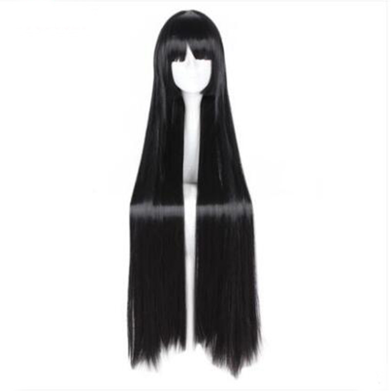 MCOSER 100cm Synthetic Long Straight Black Color Neat Bangs Cosplay Wig 100% High Temperature Fiber WIG-663A