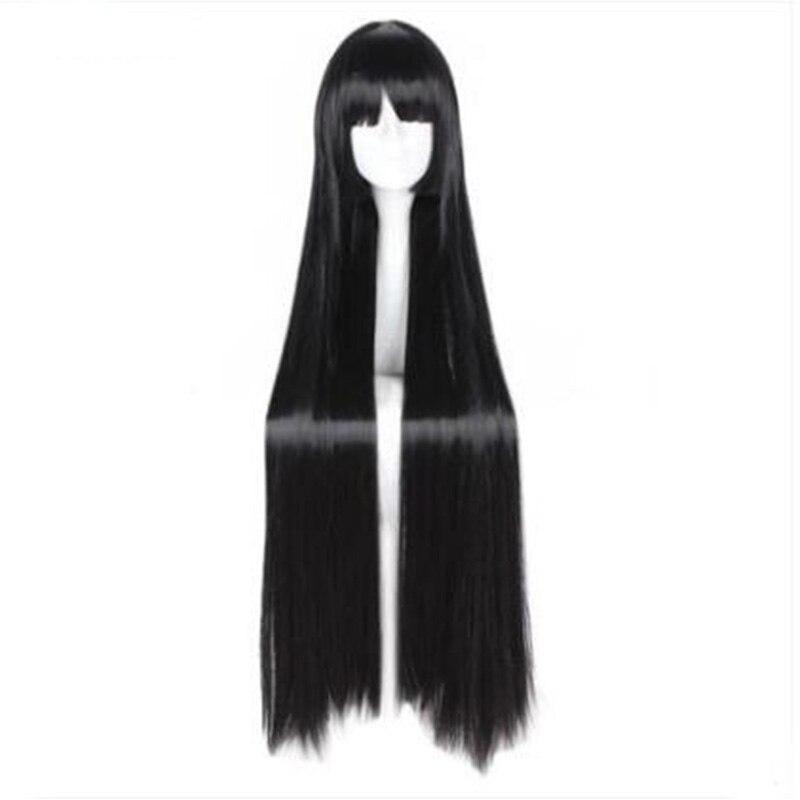 Mcoser 100 см химическое длинные прямые черные Цвет аккуратные Синтетические чёлки волос Косплэй парик 100% Высокая Температура Волокно wig-663a