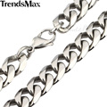 Trendsmax 10/12mm 316L Stainless Steel Necklace Curb Cuban Link Necklace Mens Chain Fashion Jewelry 18-30inch HNM04