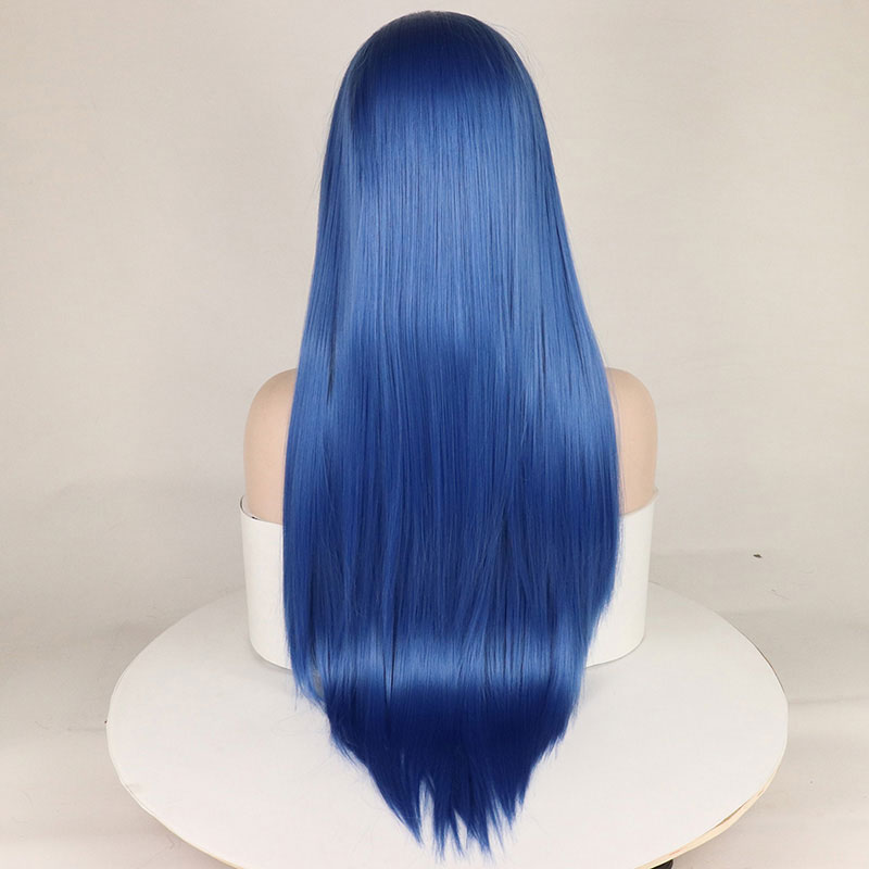 Image 3 - Bombshell Straight Synthetic Lace Front Wigs Blue Color Heat Resistant Fiber Hair Natural Hairline For White Women-in Synthetic Lace Wigs from Hair Extensions & Wigs