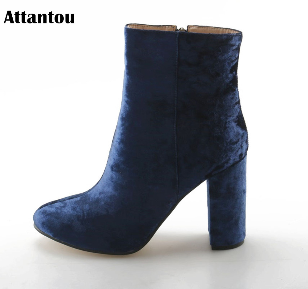 Attantou Fashion Women Boots 2018 Chunky High Heeled Ankle Boots Shoes  Brand Women Shoes Autumn Winter Snow Botas Femininos-in Ankle Boots from  Shoes on ... 3a71a286aab9