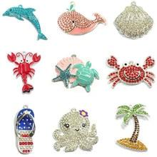 ¡10 unids/bolsa océano tema/Shell/delfín/langosta/cangrejo/ballena/calamar/árbol/zapatilla! Pendiente de verano para niños, diseño de collar
