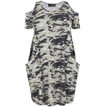 Kissmilk Plus Size New Fashion Women Clothing Casual Camouflage Cold Shoulder Dress Short Sleeve Big Size Dress 3XL 4XL 5XL 6XL