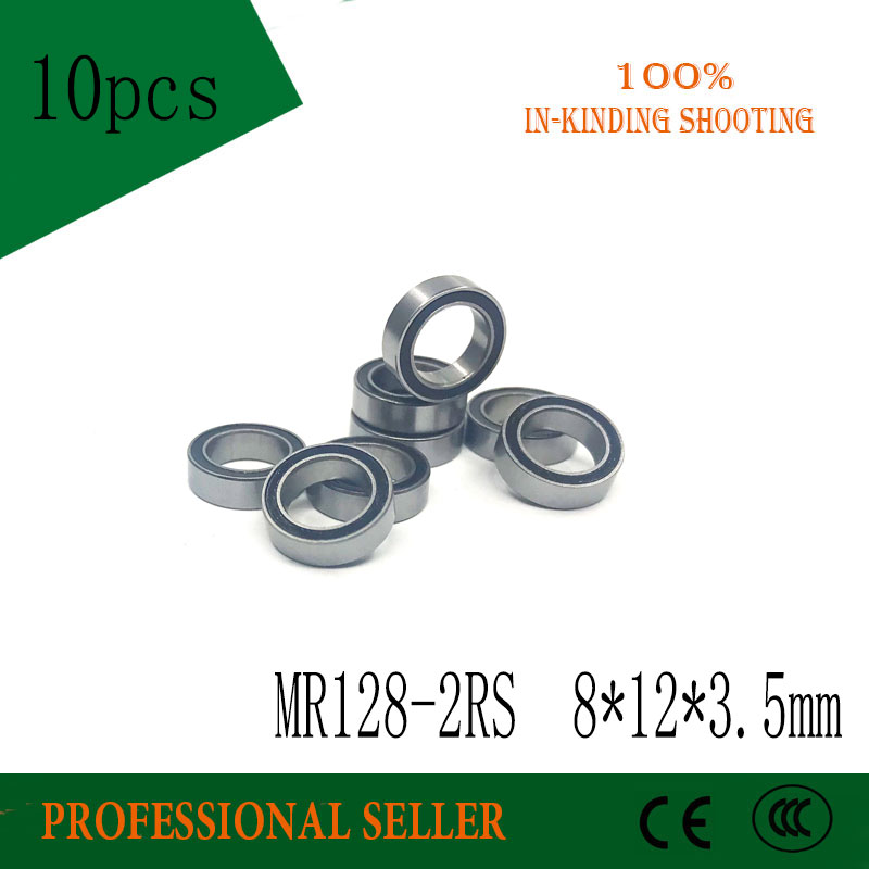 Free Shipping  10PCS MR128-2RS ABEC-3 8*12*3.5 Mm Miniature Ball Bearings MR128RS L1280 8X12X3.5MM