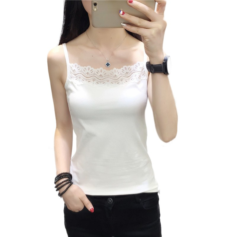 Women Fashion tops All-match Consice Lace Decorative Border Silm Fit <font><b>haut</b></font> femme <font><b>Sexy</b></font> Stitching Camisole image