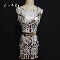 Блестящие Серебряные полные кристаллы зеркала сексуальное платье блестящими стразами этап одежда для ночного клуба Для женщин певица Прои...