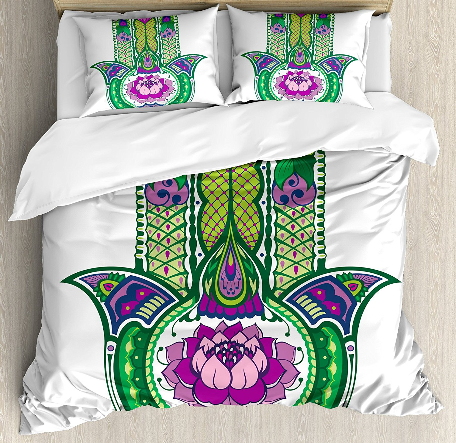 Duvet Cover Set Nature Theme Ancient Hamsa Hand With Lotus Flower Motif In  The Palm Tribal Graphic 4 Piece Bedding Set In Bedding Sets From Home U0026  Garden On ...