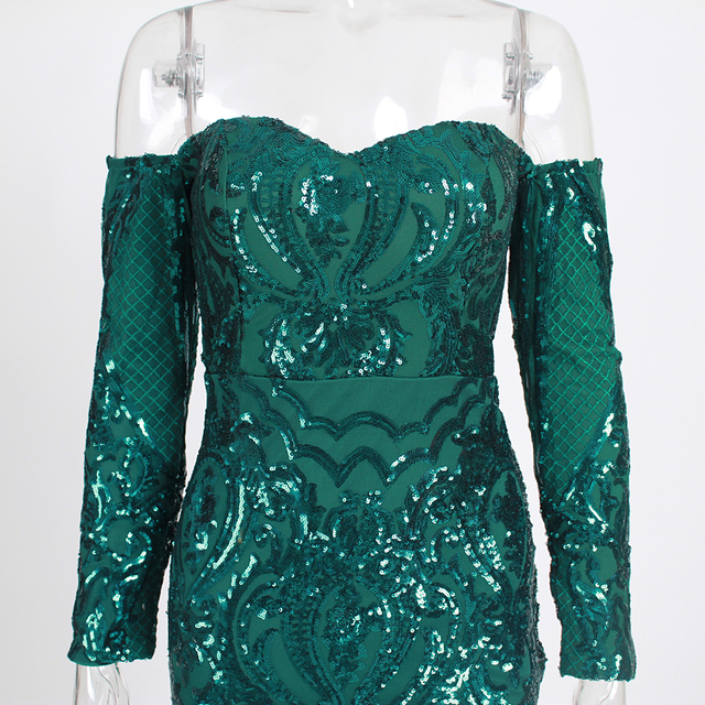 Sexy Slash Neck Padded V Neck Bodycon Stretch Green Sequin Dress Geometric Full Lining Floor Length Backless Summer Party Dress