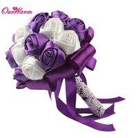 Barato Decoração Do Casamento Flores Artificiais Casamento Buquês de Noiva Flores Da Fita de Rosa Flores Artesanais Fontes Do Partido Festivo