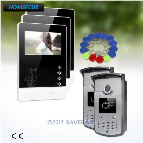 HOMSECUR 2v3 Color IP54 4.3inch Video Door Entry Call System with Quality Night-Vision with Color Images
