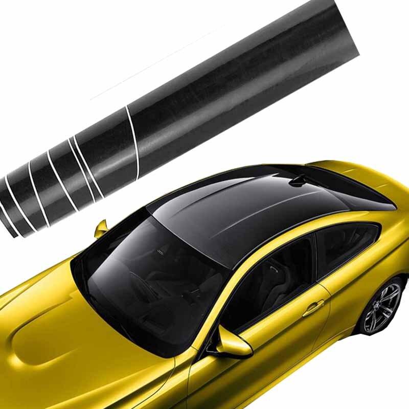 1 35MX2M 3M Glossy Car Skylight Film With Bubble Free Black Car Roof Vinyl Film Stickers