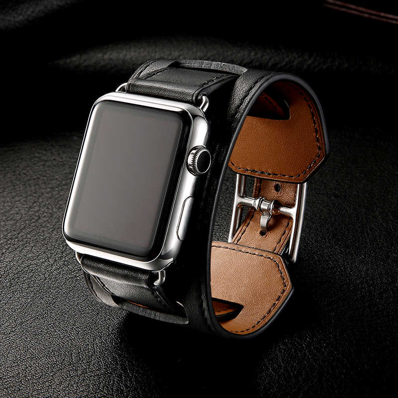 Luxury Classic Cuff Bracelet Belt for Apple Watch 42mm 38mm Band Genuine Leather Strap for iWatch 40mm 44mm Band Series 5 4 3 2