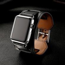 Lüks klasik manşet bilezik kemer Apple Watch 42mm 38mm için bant gerçek iWatch için deri kayış 40mm 44mm bandı serisi 5 4 3 2