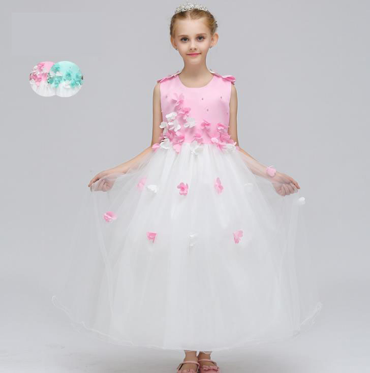 2018 New Hot Pink white blue Lace Appliques flower girl dresses Ball Gown Girls First Communion Dress Princess Pageant Dresses lovely pink ball gown short flower girl dresses 2018 beaded pearls first communion dresses for girls pageant dress