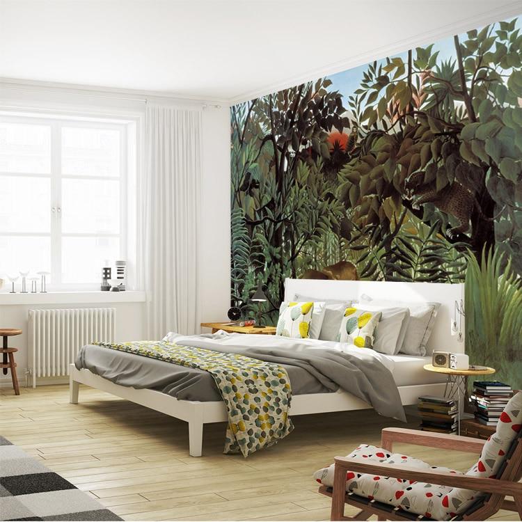 Rousseau dschungel malerei tapete kundenspezifische 3d wandbilder vintage fototapete kunst innen schlafzimmer kinderzimmer dekor flur.jpg