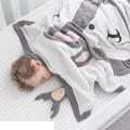 90*120 CM Algodón Knitt Manta de Bebé de Dibujos Animados Zorro Conejo Espesar Dos Lados Jacquard Manta Swaddle Me Bebé Cubierto ropa de Cama de bebé