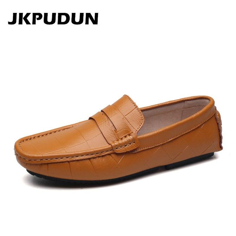 plus de photos 01e4e 03467 € 25.81 49% de réduction|JKPUDUN italien hommes chaussures décontractées de  luxe marque en cuir mocassins Designer chaussures à glissière hommes de ...