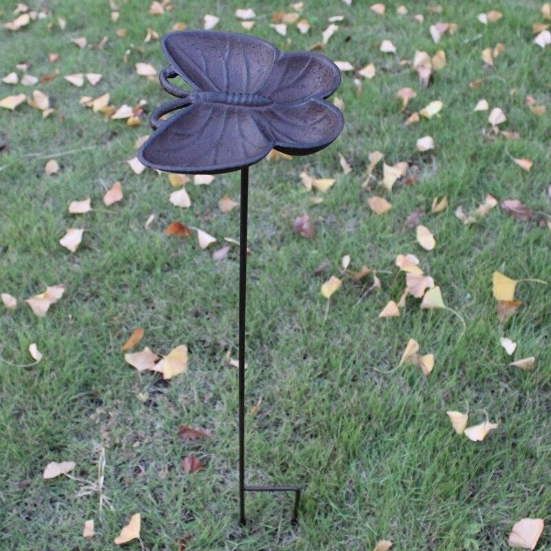 European Vintage Butterfly Shaped Cast Iron Bird Feeder With Long Bottom Plug Home Garden Decor Heavy Sturdy Metal Bird Bath