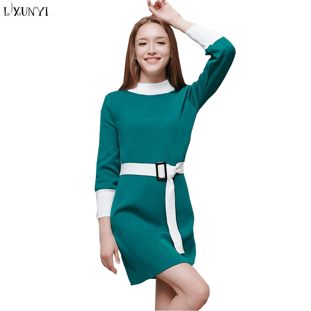 2018 Fall and Winter Long Sleeve Women Knitted Dress Casual Patchwork O Neck Slim Korea Wool Sweater Dress Bodycon Fashion Slit iadoaixnal knitted patchwork floral print belt slim full sleeve women dress summer o neck asymmetrical vintage female long dress