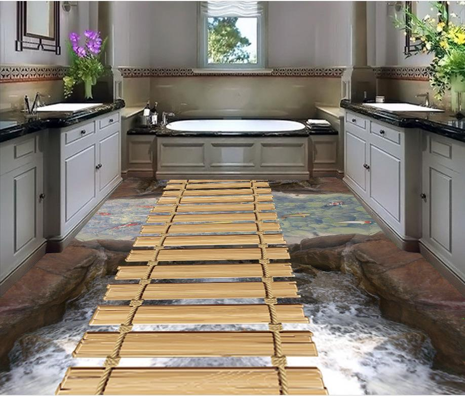 Home Decoration 3D small bridge water pvc self-adhesive wallpaper floor wallpaper 3d for bathrooms