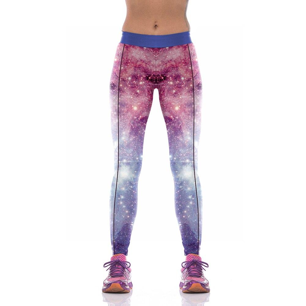 NEW 1035 Hot Sexy Girl Women Dream Galaxy Line Star violet 3D Prints High Waist Running Fitness Sport Leggings Jogger Pants