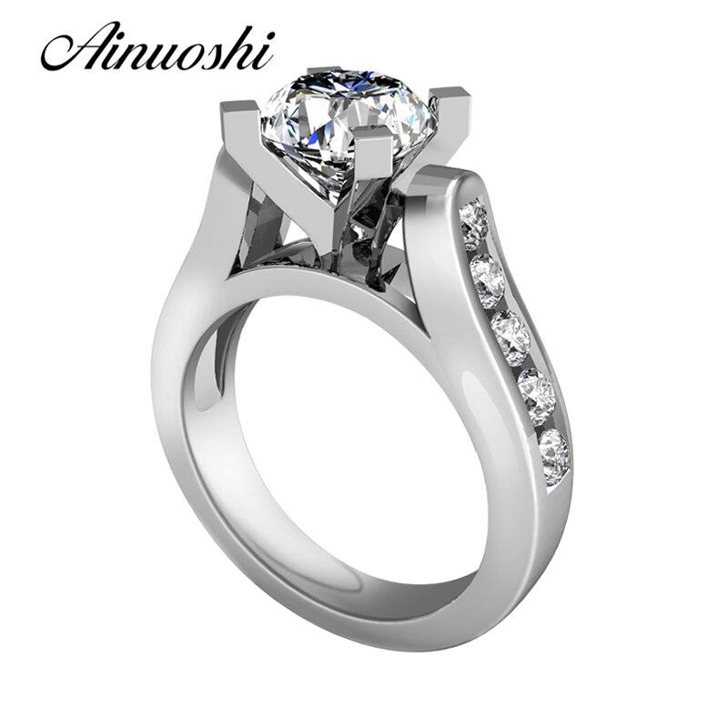Ainuoshi Роскошные Круглый Cut 1ct SONA кольцо 925 Щепка ювелирные свадебные Обручение любовь обещание палец кольцо Юбилей группа