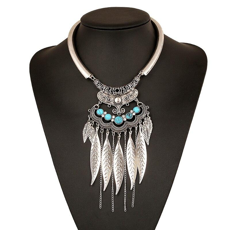 2017 Fashion Boho Vintage Collier Bohemian Necklace Colar Leaf Tassel Statement Maxi Necklace Necklaces & Pendants Women Jewelry