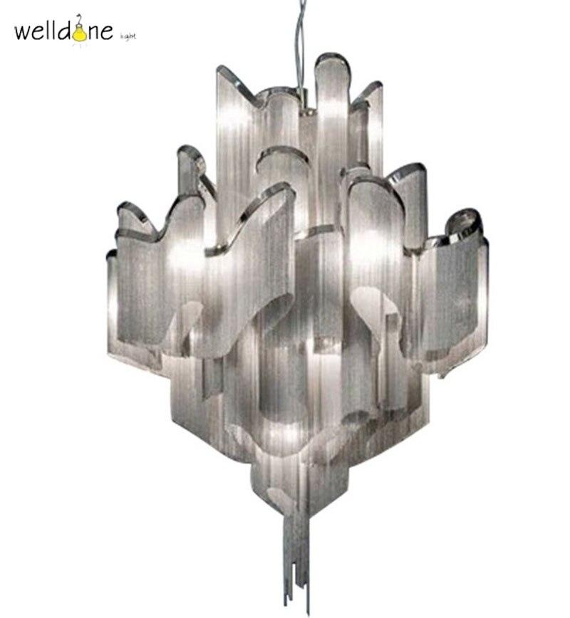 Aluminum Chain Chandelier Lighting Luxury Tassel Drop Light Hotel Lobby Villa Project Lights luxury aluminum watch