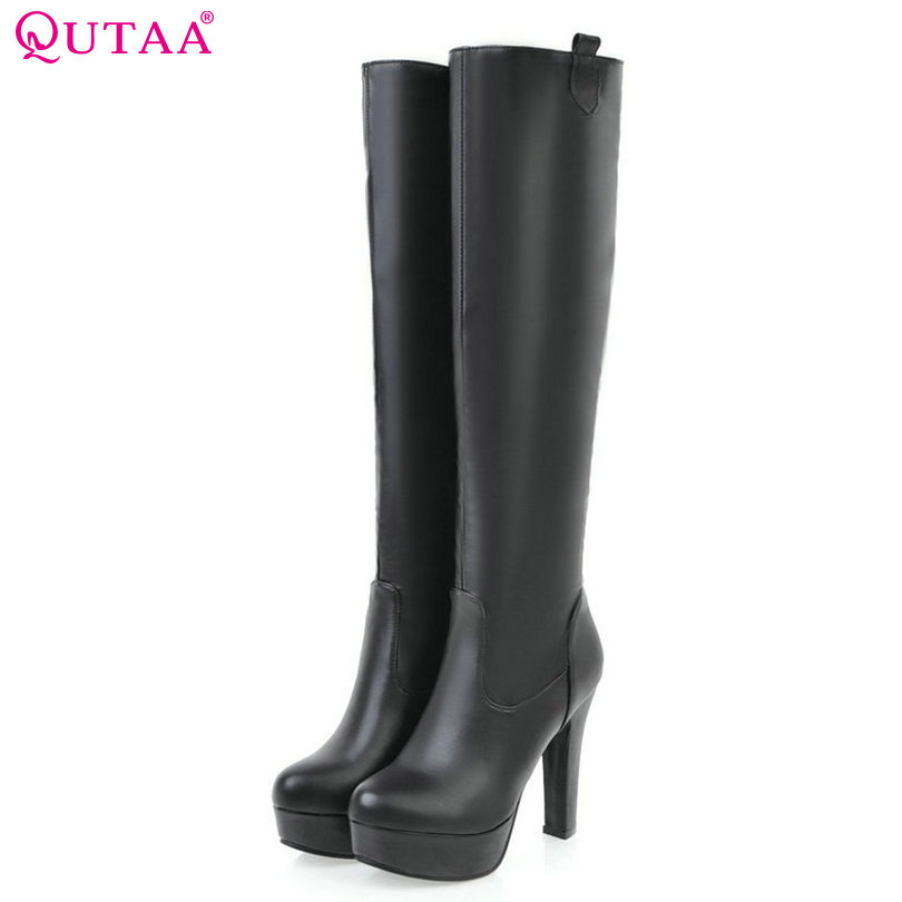 QUTAA 2020 Women Knee High Boots PU Leather Slip on Synthetic Fashion Round Toe All Match