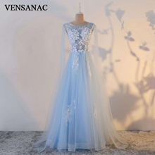 VENSANAC 2018 A Line O Neck Illusion Flowers Long Evening Dresses Elegant Lace Appliques Party Tulle Crystals Prom Gowns