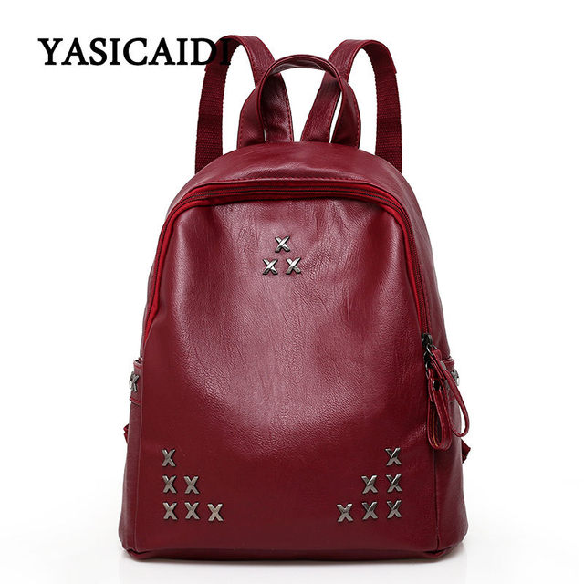 8f8028320606 Famous Brand Women Backpack for Teenage Girls Fashion Solid Medium Student  Pu Leather Backpack Star Rivet School Bags Daypack