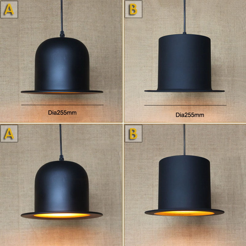 Antique Retro Black Hat Lamp For Kitchen Lights Living dining Room Edison Simple Metal Cap Shade Cover Pendant Light Fixture 9 lights e27 diy ceiling spider pendant lamp shade light antique classic adjustable retro chandelier dining hall bedroom