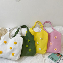 Fashion Flower Canvas Shoulder Bags Casual Large Capacity Totes High Quality Handbags Korean Style Wild Bolsa Feminina