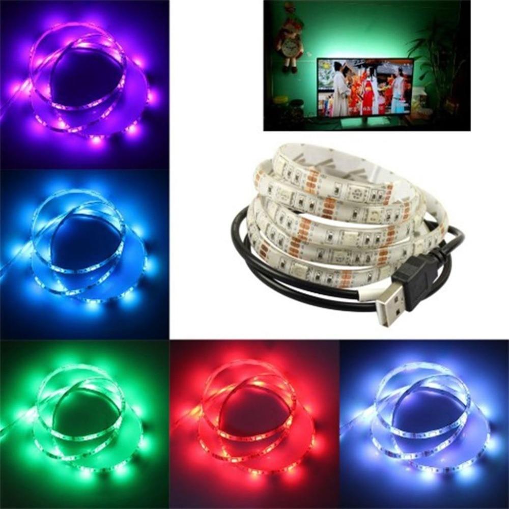 Portable SMD 5050 LED Strip Light TV USB Backlight Kit Universal RGB TV Background Lights 1M Christmas Desk Decor